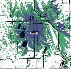Coverage map of KALY-LP in Minneapolis